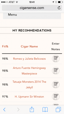 my Cigar Sense recommendations
